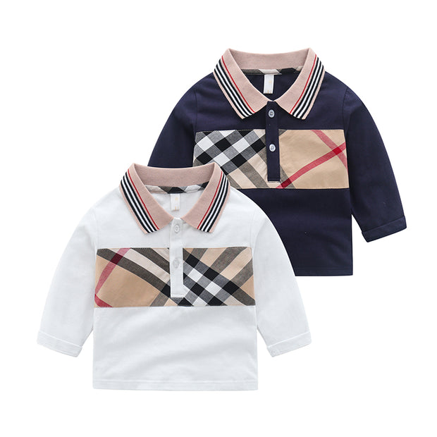 Plaid Stripes Long Sleeve T-shirt for Toddler Boy Wholesale children's clothing - Riolio
