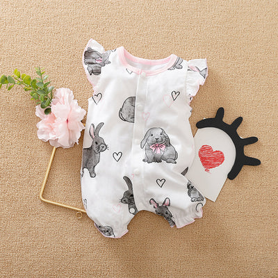 Wholesale Baby Girl Ruffle Sleeveless Easter Rabbit Bodysuit - Riolio
