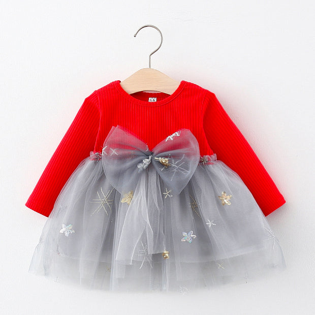 Bow Decor Patchwork Tulle Dress for Toddler Girl Wholesale children's clothing - Riolio