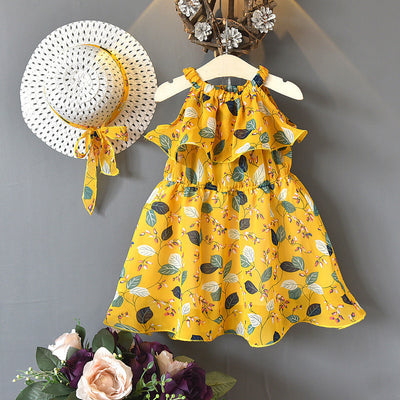 2-piece Floral Printed Dress & Sun Hat for Toddler Girl Wholesale children's clothing - Riolio