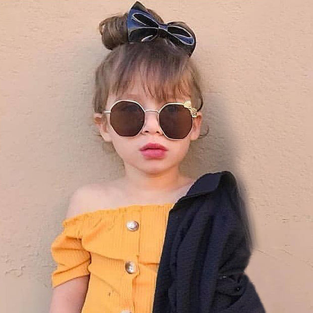 Girls Fashion Bow Metal Sunglasses Wholesale Brown Free size