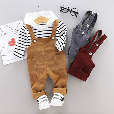 2-piece Striped Hoodie & Solid Dungarees for Toddler Boy Wholesale children's clothing - Riolio