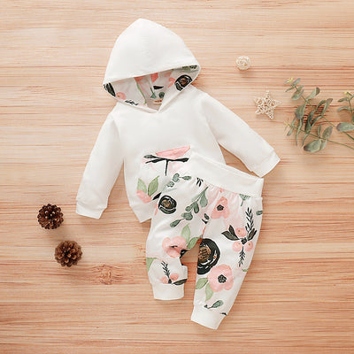 2-piece Floral Printed Hoodie & Pants for Baby Girl Wholesale children's clothing - Riolio