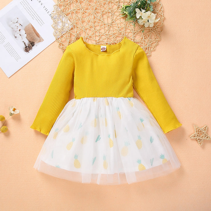 Pineapple Pattern Patchwork Tulle Dress for Toddler Girl Wholesale children's clothing - Riolio