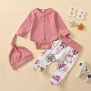 3-piece Jumpsuit & Floral Pattern Pants & Hat for Baby Girl Wholesale children's clothing - Riolio