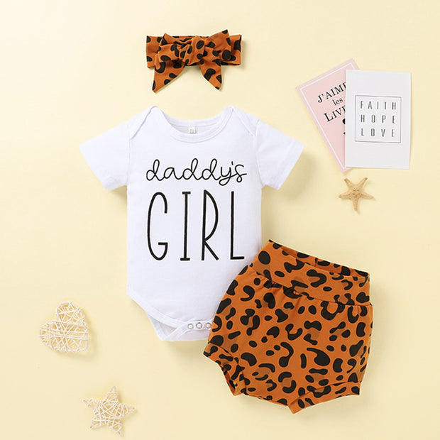 Baby Girl Romper & Leopard Print Shorts & Bowknot Headband Wholesale Brown 12-18 Months