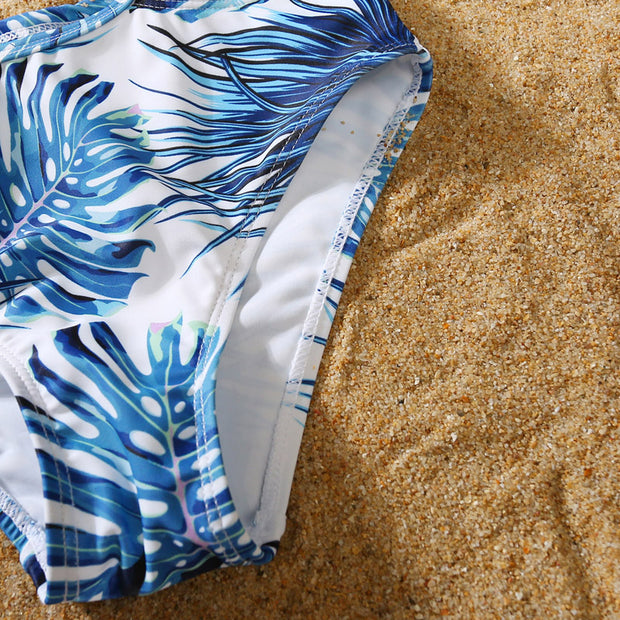 Whole Family Tropical leaf Swimsuits Wholesale White Boy: 8-9Y