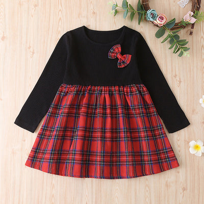 Bow Decor Patchwork Plaid Dress for Toddler Girl Wholesale children's clothing - Riolio