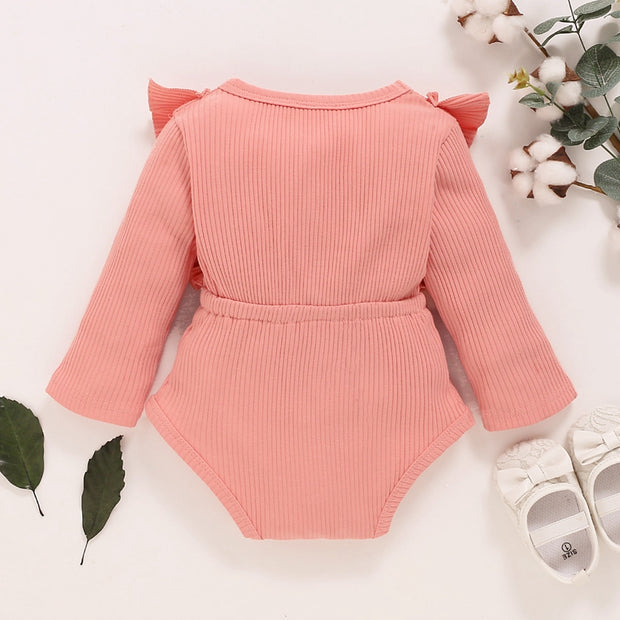 Bow Decor Solid Ruffle Bodysuit for Baby Girl Wholesale children's clothing - Riolio