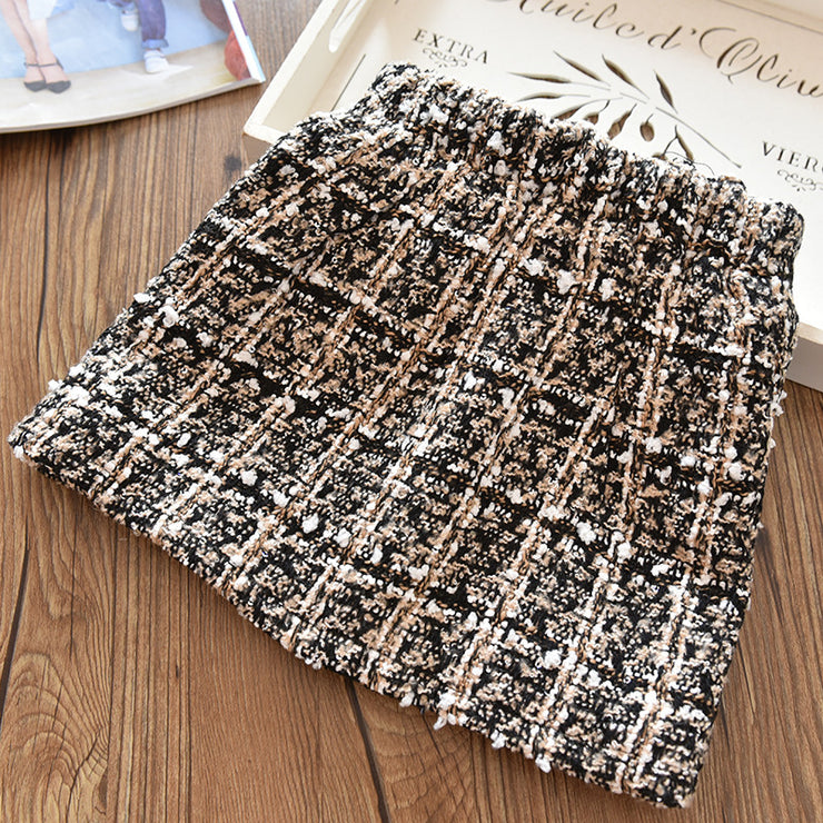Plaid Woolen cloth Skirts for Girl Wholesale children's clothing - Riolio