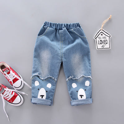 Casual Dog Print Jeans Wholesale children's clothing - Riolio
