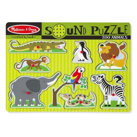 Puzzle Wood With Sound - Zoo 8 pieces
