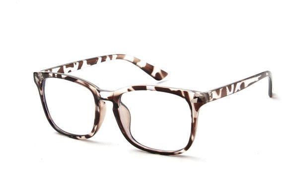 Rectangle Tortoise Blue Light Blocker Eyeglasses