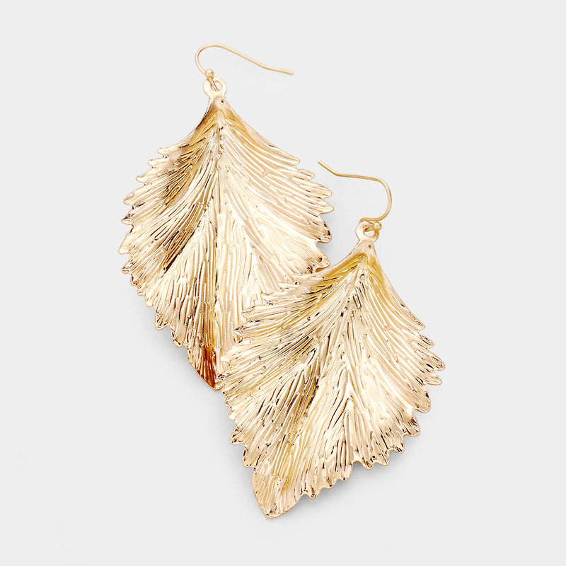 Large Bronze Metallic Feather Earrings