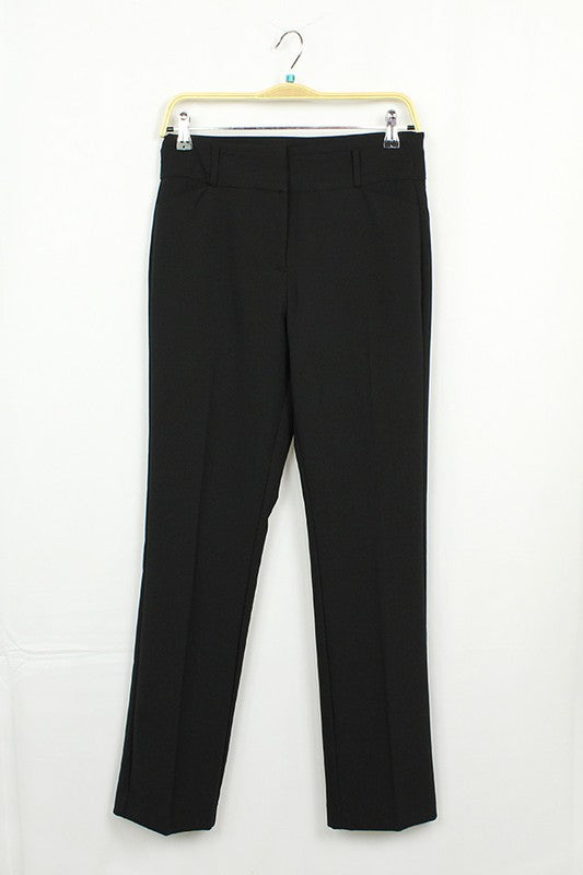 Elastic Waist with Tie and Pockets Linen  Black Pants