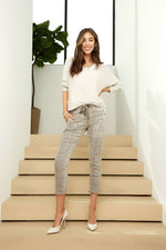 Kate Plaid Crinkled Italian Joggers with Pockets