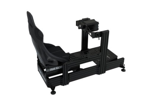 TR160 Black Aluminum Cockpit with FANATEC PODIUM DD1 DD2 Wheel Mount and Rally Style Seat