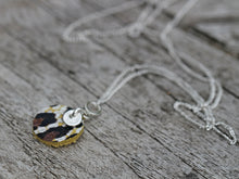Load image into Gallery viewer, Leather & Fine Silver Clay Disc Pendant Necklace