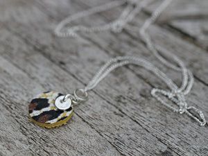 Leather & Fine Silver Clay Disc Pendant Necklace