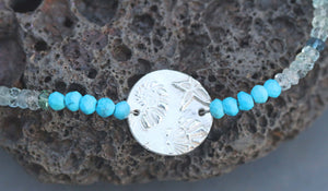 Fine Silver Textured Shell Necklace with Turquoise & Aquamarine Gemstones