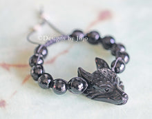 Load image into Gallery viewer, Mens/Unisex Black Agate Wolf's Head Adjustable Bracelet