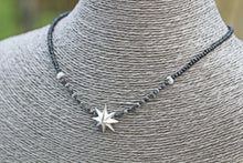 Load image into Gallery viewer, Rough Black & Grey Diamond & Fine Silver PMC Star Statement Necklace