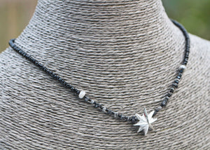 Rough Black & Grey Diamond & Fine Silver PMC Star Statement Necklace