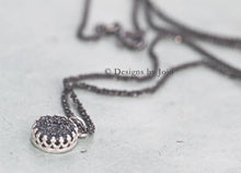 Load image into Gallery viewer, Black Druzy & Sterling Oxidised Rope Chain Necklace