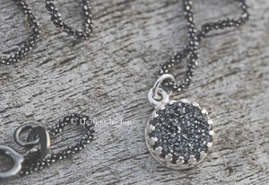 Black Druzy & Sterling Oxidised Rope Chain Necklace