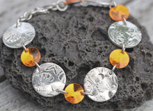 Load image into Gallery viewer, Swarovski & Fine Silver Textured Disc Bracelet