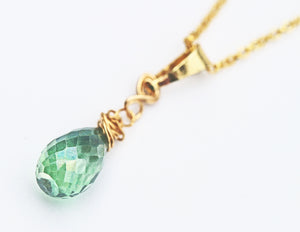 Green Topaz Briolette Teardrop Pendant Necklace