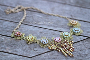 Swarovski Pastel Pearl & Crystal OOAK Statement Necklace