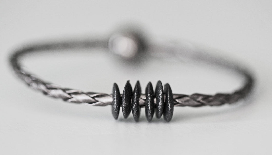 Gunmetal Braided Leather & Ceramic Mens Unisex Bracelet