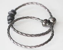 Load image into Gallery viewer, Gunmetal Braided Leather Simple Mens Bracelet