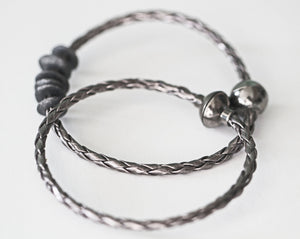 Gunmetal Braided Leather Simple Mens Bracelet