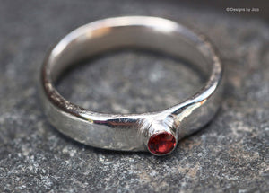 Fine Silver Rhodolite Garnet Stacking Ring Band 999