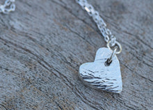 Load image into Gallery viewer, Fine Silver Textured Heart Charm Necklace