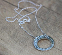 Load image into Gallery viewer, Fine Silver Polo Hammered Textured Necklace