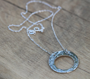 Fine Silver Polo Hammered Textured Necklace