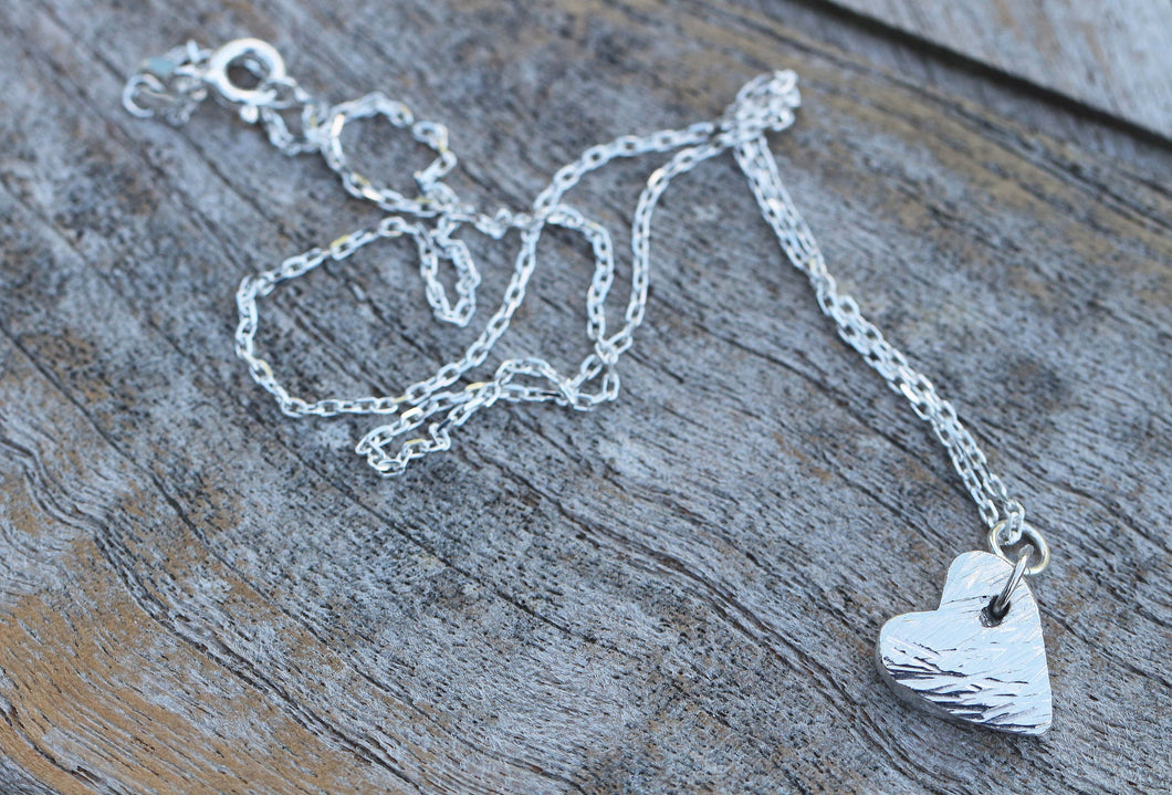 Fine Silver Textured Heart Charm Necklace