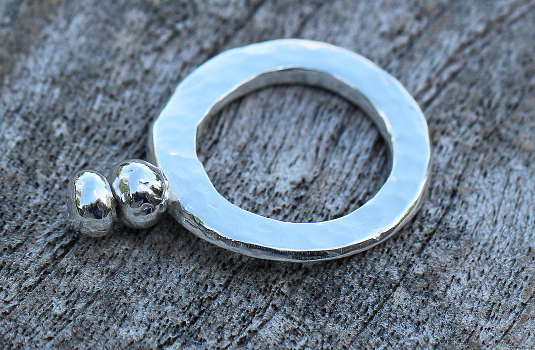 Fine Silver Hammered Nugget Ring Circle