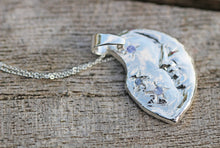 Load image into Gallery viewer, Crescent Moon Fine Silver & Tanzanite Pendant