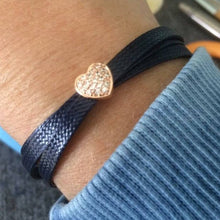 Load image into Gallery viewer, Navy Blue & Rose Gold Heart Wrap Bracelet