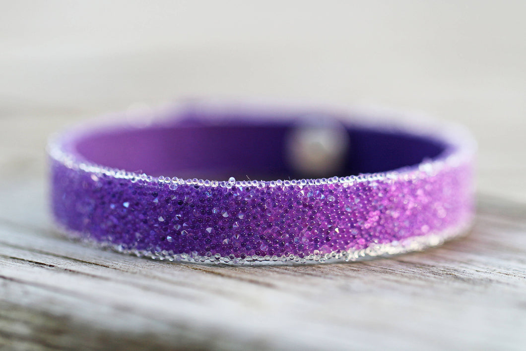 Unique, Swarovski Crystal & Leather Adjustable Bracelet Cuff Ultraviolet Pantone 2018 Friendship Mother's Day Gift Birthday
