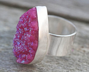 Shocking Pink Real Druzy Sterling Silver Ring