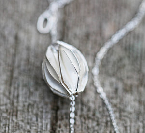 Sterling Silver Pleated Bead Necklace Pendant Minimalist Mother's Day Easter