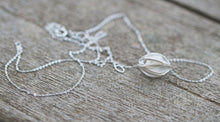 Load image into Gallery viewer, Sterling Silver Pleated Bead Necklace Pendant Minimalist Mother's Day Easter