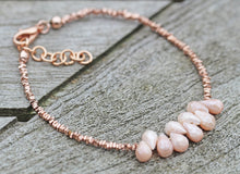 Load image into Gallery viewer, Mystic Peach Moonstone Rose Gold Vermeil Bracelet