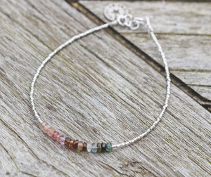 Sterling Silver & Tourmaline Faceted Rondelle Bracelet