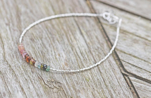Sterling Silver & Tourmaline Faceted Rondelle Bracelet Semi Precious Gemstones Mother's Day Mom